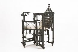 Sylvain Contini's sculptural armchair diagonal back view