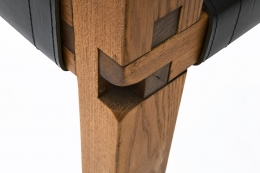 "Pierre Chapo's Set of eight ""S11E"" chairs detail of leg joinery"