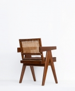 Pierre Jeanneret's Desk chair diagonal back view