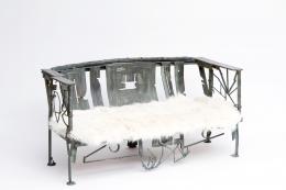 Sylvain Contini's sculptural bench diagonal view