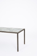 Mado Jolain's ceramic coffee table, cropped view of side of table