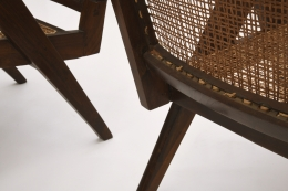 Pierre Jeanneret's pair of easy armchairs detailed of back caning