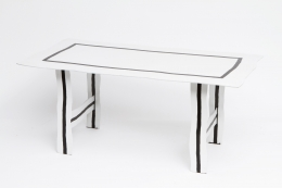 """Howard Meister's """"Red-Free"""" table, diagonal view from above"""