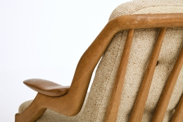 Guillerme et Chambron's sofa, detailed view of back and armrest