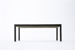 French 1960's blue ceramic coffee table straight view from below