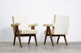 """Le Corbusier & Pierre Jeanneret's """"Committee"""" armchairs, diagonal front and diagonal back views"""