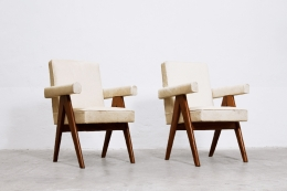 """Le Corbusier & Pierre Jeanneret's """"Committee"""" armchairs, front diagonal views"""