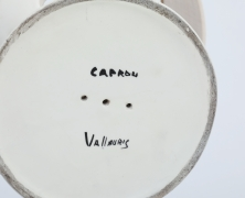 Roger Capron's ceramic table lamp detail view of signature on bottom