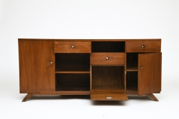 Pierre Jeanneret's sideboard, full straight view with drawers and cabinet doors open