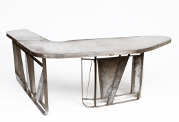 Modernist cement and iron desk, full view from above