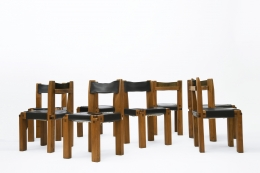 """Pierre Chapo's Set of eight """"S11E"""" chairs view of all chairs"""