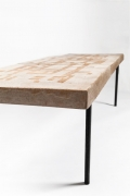 André Borderie ceramic coffee table detail view of leg and table top
