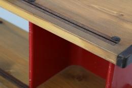"Charlotte Perriand's ""Bibliothéque de la Maison de Tunisie"" bookcase, detailed view of grooves in shelving"