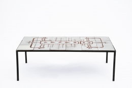 Jean Rivier's ceramic coffee table, full straight view from above