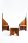 Hervé Baley's large chairs install photo with Baley's stool