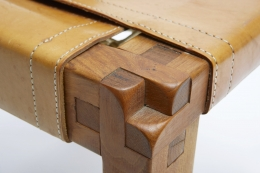 """Pierre Chapo set of six """"S11B"""" chairs detailed view of leg joinery"""