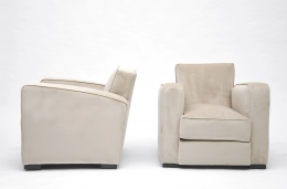 Jacques Adnet pair of club armchairs side and front view