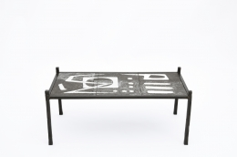 Robert and Jean Cloutier's ceramic coffee table straight view from above