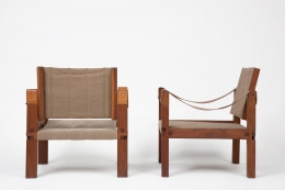 Pierre Chapo's pair of armchairs back and side view