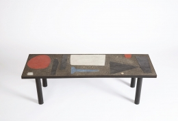 Pierre and Vera Székely's ceramic coffee table, full straight view from top