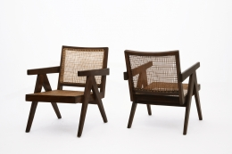 Pierre Jeanneret's pair of easy armchairs diagonal front and back view