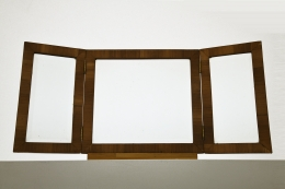 Unknown artist's marquetry mirror, straight front view with mirror open