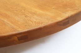 """Pierre Chapo's """"T02P"""" coffee table detail of wood top"""