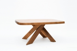 "Pierre Chapo's ""T35C"" dining table diagonal view"