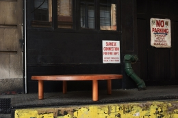 """Pierre Chapo """"T02P"""" coffee table installation view outside"""