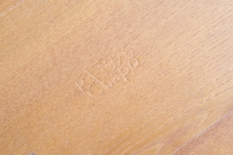 """Pierre Chapo's """"T02P"""" coffee table detail of stamp on wood"""