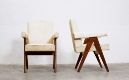 """Le Corbusier & Pierre Jeanneret's """"Committee"""" armchairs, front and side views"""