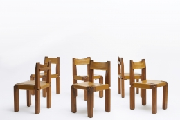 """Pierre Chapo set of six """"S11B"""" chairs straight view of all chairs"""