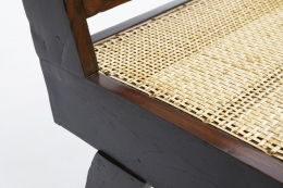 Pierre Jeannerets three-seat sofa detailed view of teak frame and caning