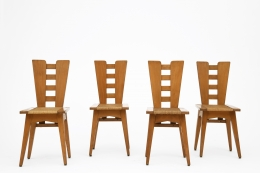 Henry Jacques Le Même's Set of 4 chairs, full straight view of all chairs