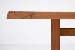 """Pierre Chapo """"T14C"""" dining table detailed view of table top and leg"""
