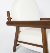 Attributed to Charlotte Perriand, pair of armchairs, close up view of arms and wooden frame of single chair