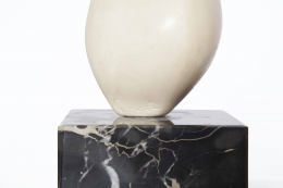 """Antoine Poncet's marble and plaster sculpture, detailed view of marble base with an engraved """"Poncet"""""""