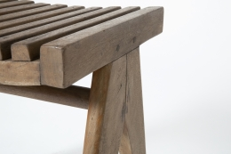 Pierre Jeanneret's pair of stools, detailed view of seat and leg