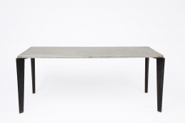 Jean Prouvé's aluminum dining table, full straight view from above