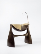 Philippe Hiquily's sculptural cradle, diagonal view with fur lining inside