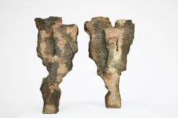 Joëlle Deroubaix Large Sculpture, full front views of two sculptures