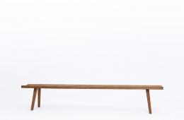 Marolles' wooden bench full view eye-level