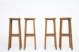 Unknown Artist's set of 4 stools, straight front views from eye-level