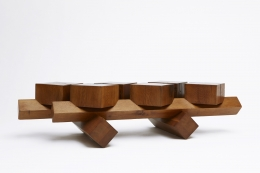 Dominique Zimbacca's coffee table, full side view from eye-level