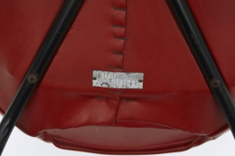 "Pierre Guariche's Set of 4 ""Tonneau"" chairs detailed view of label underneath"