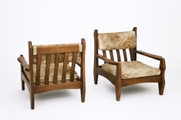 Guillerme et Chambron's pair of armchairs, back and front view from above