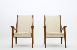 Jacques Adnet's pair of armchairs front view