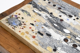 Paul Becker's coffee table stone and glass inserts detail