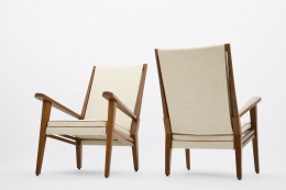 Jacques Adnet's pair of armchairs front and back views