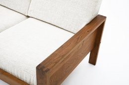 """Pierre Chapo's """"L06A"""" daybed detail view of cushion and arm"""